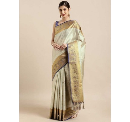 White Colour  And Silver-Toned Kanjeevaram woven design saree