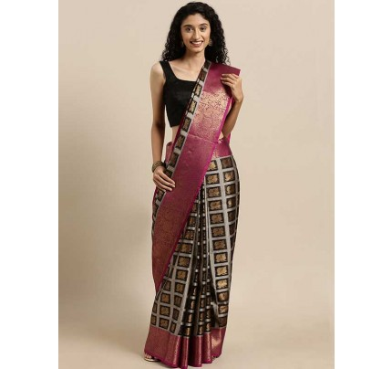 Black Colour Gold-Toned Tissue Kanjeevaram Saree