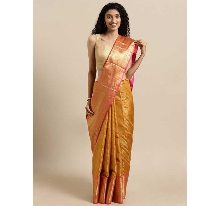 New Yellow Colour  Kanjeevaram Woven Design Saree