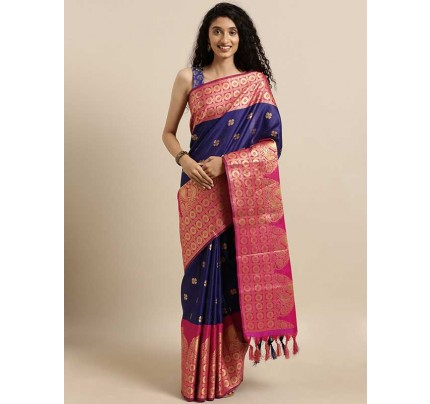 New Blue Colour  Kanjeevaram Woven Design Saree