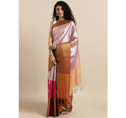 Stylearray Present Pink Colour Kanjeevaram Woven Design Saree