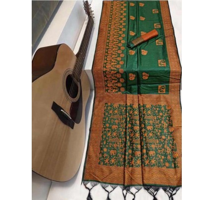 Beautiful Green Handloom raw Silk Weaving Saree with kalamkari  woven pallu