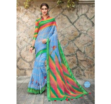 Graceful Look Multi Color  Soft Linen Digital Print Saree