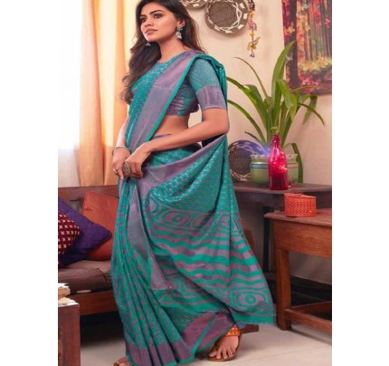 Multi Colored Beautiful Soft Brasso Silk Fancy Saree