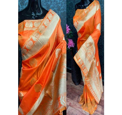 Special Edition Orange Color Banarasi Silk minakari weaving work Saree
