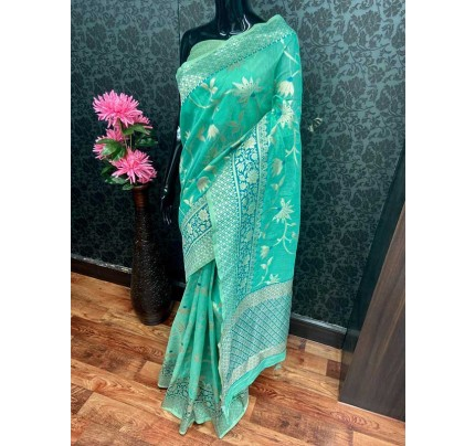 Beautiful Cyan Soft Handloom Cotton silverzari weaving Saree