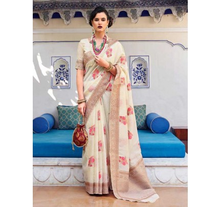 Beautiful Look White Color Pure Linen Saree
