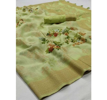 New Eye Catcher Green Color Soft Silk Digital Printed Saree