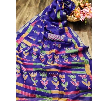 Elegance Look Blue  Colored Cotton Silver Zari Patta Saree