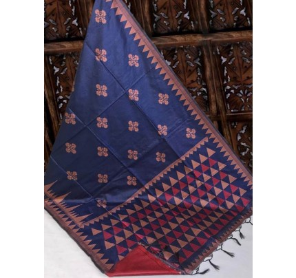 Beautiful Blue Handloom Raw Silk Weaving Saree With All Over Resham Weaving