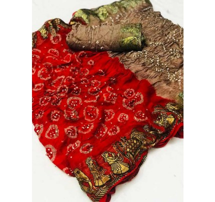 Design Red  Color  Cotton  Base Bandhani  Silk Saree