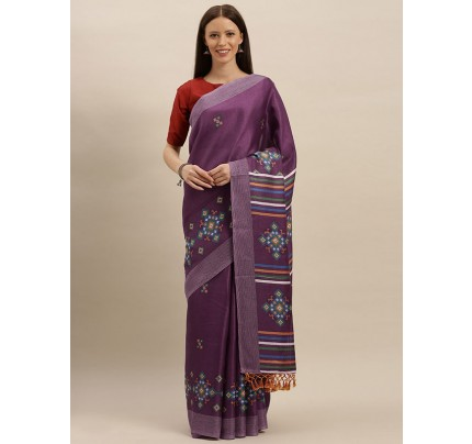 Traditional Look Purple Colour Jute Silk Printed Ikat Saree