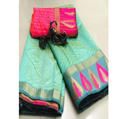 Elegance Look Cyan Colour Cotton Saree with weaving border