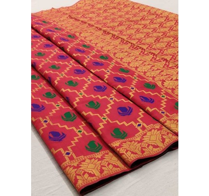 Elegance Look Multi Colored Soft Cotton Weaving Saree
