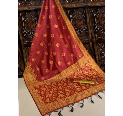 New Eye Catcher Red Color Handloom Raw Silk Saree With  Weaves Saree