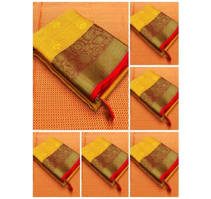 Beautiful Yellow Color Pure Kora muslin Silk weaving with Rich pallu Branded Saree
