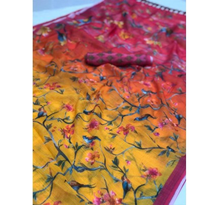Stunning Multi Color Soft Linen Digital Printed Saree With Weaving Border