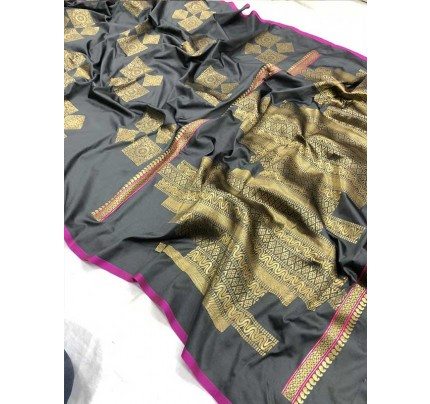 Wedding Look Grey Color Banarsi Silk with Silver zari Saree