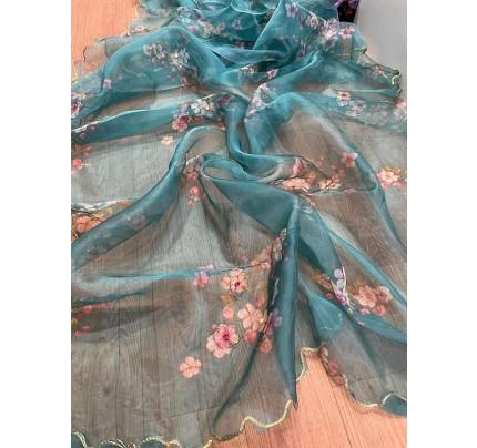 Celebrity Style Organza Printed Saree with Khatli handwork