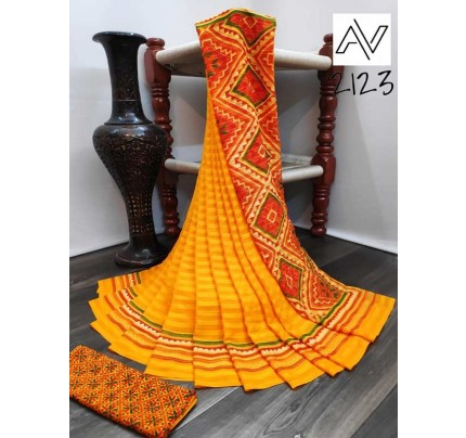 Eye-Catching Look Yellow color Viscose Lining GeorgettePrinted Saree
