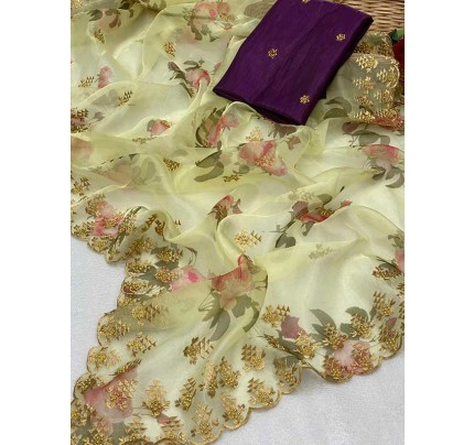 Trending Yellow color Soft Pure Organza Embroidery Sarees