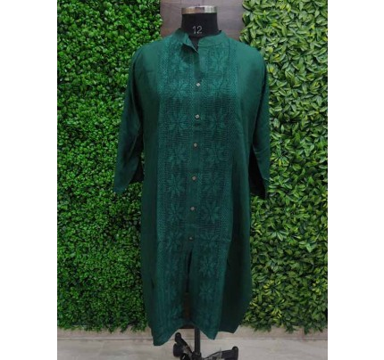 Green color Heavy Rayon Kurti With Same Color Lace