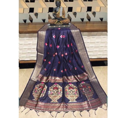 Elegance Look Blue Colour Handloom Cotton Weaving Paithani Saree