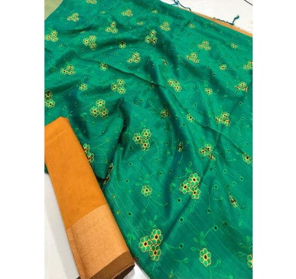 Attractive Look Green Colour Banglori Raw Silk Saree with Embroidered Cut Work