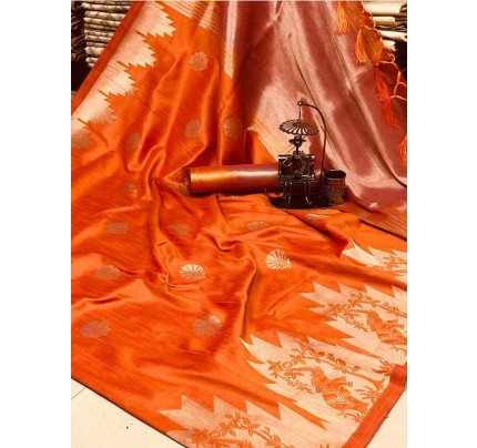 Stunning Orange Color Ekkat Silk Rich Pallu Weaving Border  All Over Nice Designing Saree With Weaving Blouse