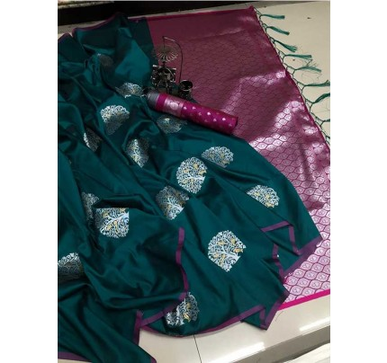 Graceful combination for Wedding Look Green  Color Lichi Silk Weaving Jecard Saree With Beautiful Wiaving Blouse