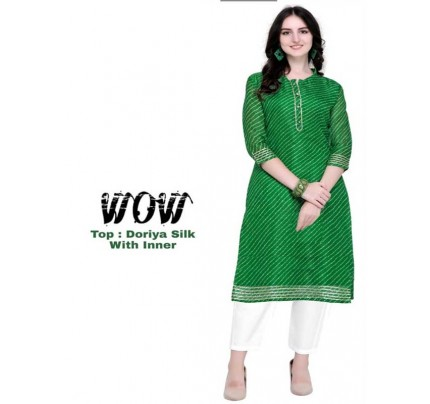 Summer Special Green color Doriya Silk Kurti