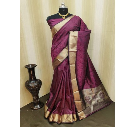 Classic Look Purple Color Satin Silk Saree With AllOver weaving work