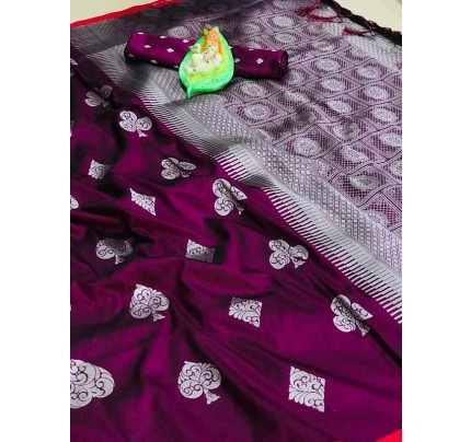 Graceful combination for Wedding Look Purple Color Lichi Silk weaving  Saree