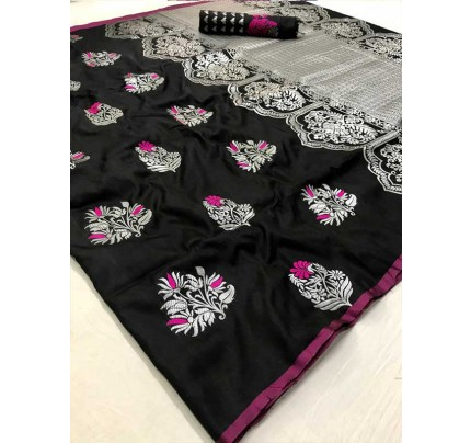Latest Traditional Look Black Color Soft Silk Weaving Saree