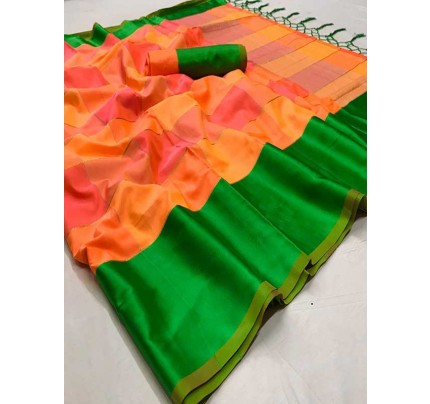 Multi Colored Beautiful Soft Silk Weaving Designer Saree