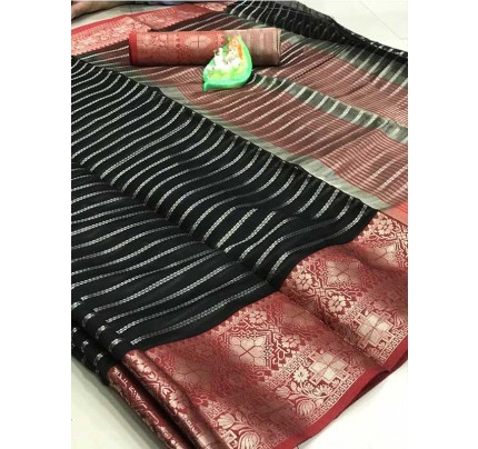 Elegance Look Black Colored Soft Cotton Weaving Saree