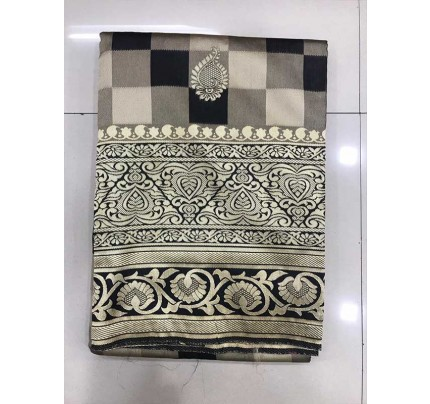 Black Colour Banarasi Silk Weaving Saree with Fabulous Checks Weaes All over Contrast Border and Exclusive Pallu