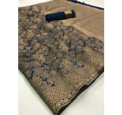 Stunning Blue Color Banarasi Cotton Saree