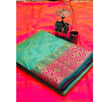 Stunning Cyan Color Soft Cotton Silk Saree with weaving