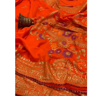 Graceful combination Orange Color Saree Of Pure Vichitra Silk  Saree