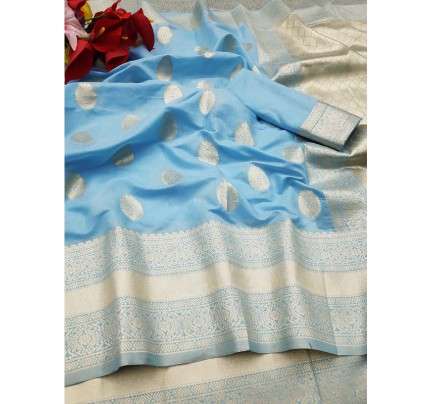 New Trending SkyBlue Colour Soft Cotton Silk Saree  with all over Jacquard weaving Butta