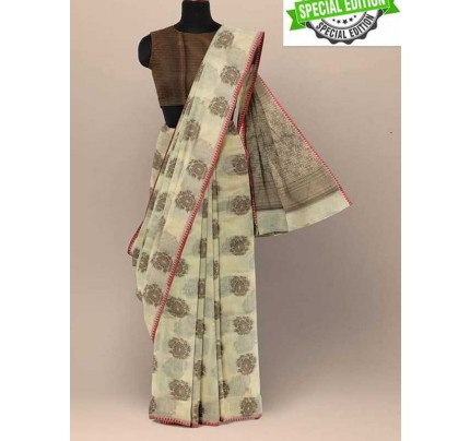 Elegance Look Cream Colour Soft Cotton Silk Saree