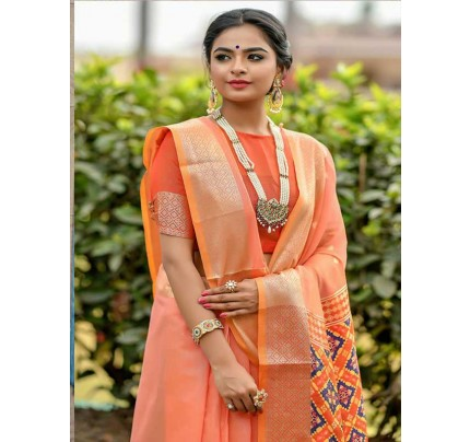 Wedding wear Peach color Soft Cotton Silk weaving Saree