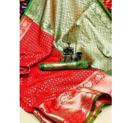 Finnest Look Multi Color Pure Silk Saree weaving pattern with chex style
