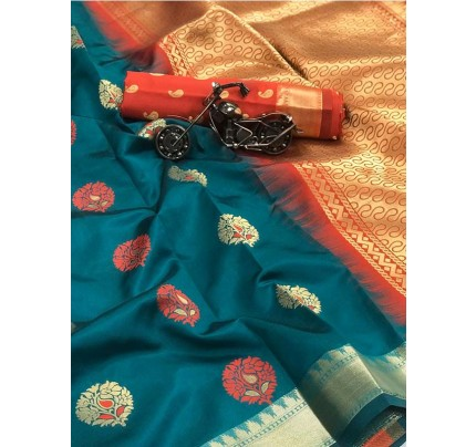 Cyan Color Lichi Silk Saree With Zari Weaving Butta on Saree