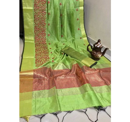 Graceful Look Green Color Crystal Silk Saree with Embroidered work
