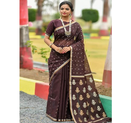 Wedding Look Brown Color Linen Silk Saree with Gold Zari weaving all over