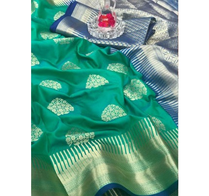 Special Edition Green Color Soft Silk gold Zari with weaving design border