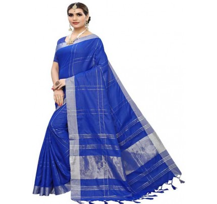 New Trending Blue Color Linen Cotton Silk Printed Saree