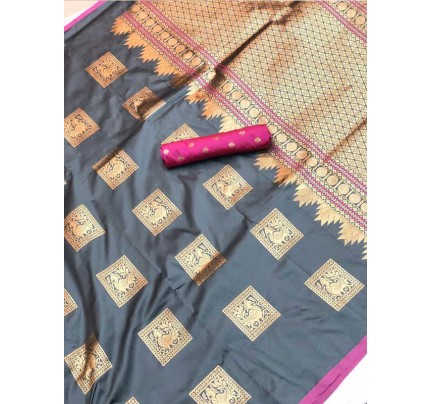 Stunning Look Grey Colour Soft Banarasi silk weaving saree